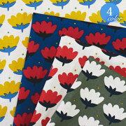 【メール便2mまで】ル・デパール〈LEDEPART〉北欧風トゥリッパ綿麻生地(1281)[花フラワーチューリップ北欧かわいい素敵おしゃれハンドメイド手作りポーチカバー雑貨生地麻リネン綿コットン]メール便OK
