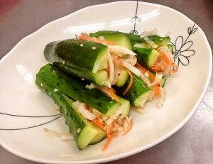 手作りキムチ専門店 フルーツキムチ 辛くない胡瓜キムチ500g 作り方:十字型【アミの塩辛漬け】日本産 冷蔵品 上質な日本の野菜を厳選使用 きゅうり 発送日に合わせて作ります。