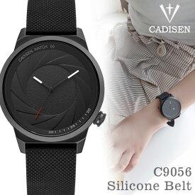 CADISEN オールブラック C9056 シリコンベルト 腕時計 ブランド プレゼント【送料無料】【あす楽対応可】