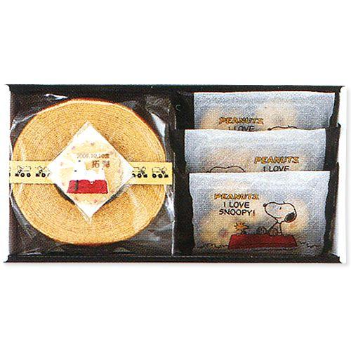 【出産内祝い 七五三 お返し】スヌーピー バウムクーヘン&クッキーセット<2300>(お名入れ)