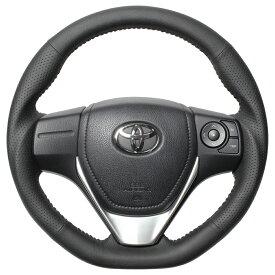 REAL レアル カローラフィールダーハイブリッド カローラアクシオハイブリッド 160系 ステアリング オリジナルシリーズ ブラックオールレザー(シルバーステッチ) E160-LPB-SL
