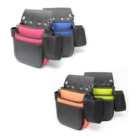 侍BLACK 釘袋墨つぼケース付(4カラー)【腰袋 工具袋 ネイルバッグ スミツボ すみ壺 大工 内装 型枠】