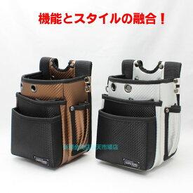 KOZUCHI 腰袋3段 WT−12BR(SV)【コヅチ 釘袋 工具袋 腰袋 ネイルバッグ ウエストバッグ サイドポケット 大工 電工】