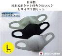 【日本製】洗えるポケット付きマスク Lサイズ ≪ライトグレー、ライトグリーン、ブラックの3個セット≫洗って何回も使えます。飛沫、花粉、ほこり対策に使えるほか、ポ...