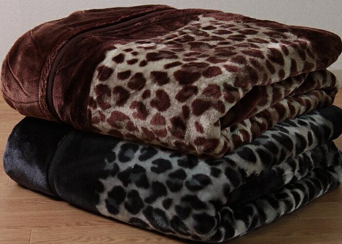 西川 衿付き2枚合わせ毛布 シングルサイズ ヒョウ柄 レオパード柄