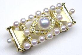 《真珠大卸からの直販》■ 極小アコヤ真珠を使用したアンティーク仕上げ■花珠真珠帯留めブローチ8.0mmUP【送料無料】