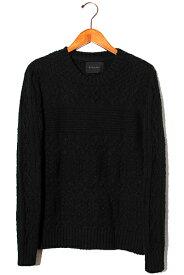 【中古】LOUNGE LIZARD ラウンジリザード Cotton Cable Summer knit コットンケーブルサマーニット 1 BLACK ブラック /◆ メンズ 【ベクトル 古着】 200412 ベクトル 新都リユース