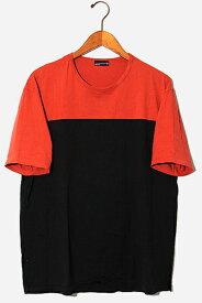 【中古】LAD MUSICIAN ラッドミュージシャン BIG T-SHIRT PANEL COLOR パネルカラー ビッグTシャツ 42 ORANGE オレンジ 2216-703 /◆ メンズ 【ベクトル 古着】 200808 ベクトル 新都リユース
