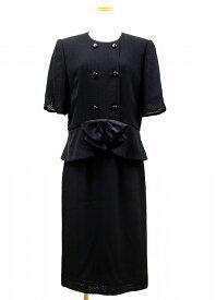 【中古】ジバンシィ GIVENCHY リボンモチーフ ロングスカート スーツ セットアップ ブラック フォーマル 14号 黒 ブラック レディース 【ベクトル 古着】 190124 ベクトル 新都リユース