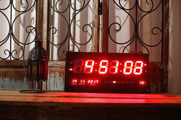 未使用品 LED NUMBER CLOCK 多機能 中型 スクエア デジタル 壁掛け時計 クロック レッド 4622 【中古】【ベクトル 古着】 171121 ベクトル 新都リユース