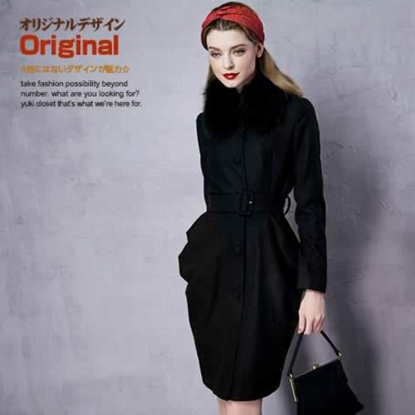 オリジナルデザイン 冬新作 大人可愛い 黒 ブラック ドレープ ファー取り外し可能 共布ベルト付き ウエストマーク Iライン メルトン ロングウールコート