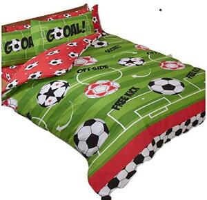 サッカーボール柄 ダブル 布団カバー+枕カバー セット
