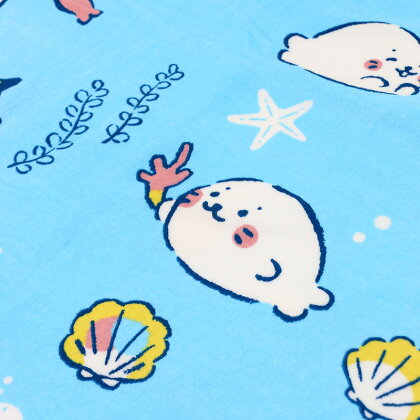 しろたんシェル柄ビッグタオル80cm×160cmあざらしアザラシかわいいキャラクタープール海水浴海ビーチタオルバスタオル子供お昼寝マザーガーデン