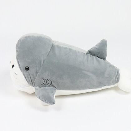 しろたん復刻サメに変身抱き枕55cm復刻商品あざらしアザラシかわいいぬいぐるみ抱きまくらサメキャラクターマザーガーデン