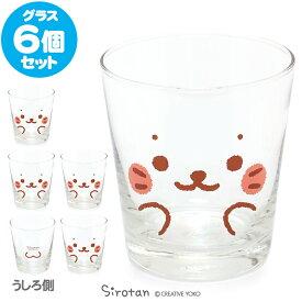 しろたん 《顔ぼん柄》 グラス 6個セットグラスセット ガラスコップ キッチン用品 ギフト プレゼント あざらし アザラシ かわいい キャラクター