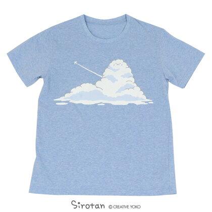 しろたんTシャツ半袖入道雲柄青色S/M/L/XLレディースメンズユニセックス男女兼用半袖あざらしアザラシかわいいキャラクターマザーガーデン