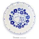しろたん 和食器 しろたん&らっこいぬ 椿柄 花割平皿 日本製陶器 食器 お皿 皿 あざらし アザラシ かわいい キャラク…