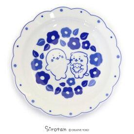 しろたん 和食器 しろたん&らっこいぬ 椿柄 花割平皿 日本製陶器 食器 お皿 皿 あざらし アザラシ かわいい キャラクター マザーガーデン