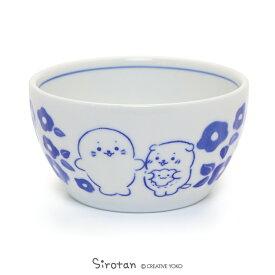 しろたん 和食器 しろ&らっこいぬ 椿柄 深鉢 日本製陶器 食器 お皿 皿 あざらし アザラシ かわいい キャラクター マザーガーデン