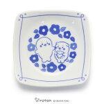 しろたん和食器しろ&らっこいぬ椿柄角皿日本製陶器食器お皿皿あざらしアザラシかわいいキャラクターマザーガーデン