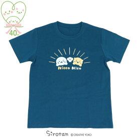 しろたん Tシャツ 半袖 《Nicco Nico柄》 紺色 S/M/L/XLレディース メンズ ユニセックス 男女兼用 半袖 あざらし アザラシ かわいい キャラクター マザーガーデン 【メール便可】