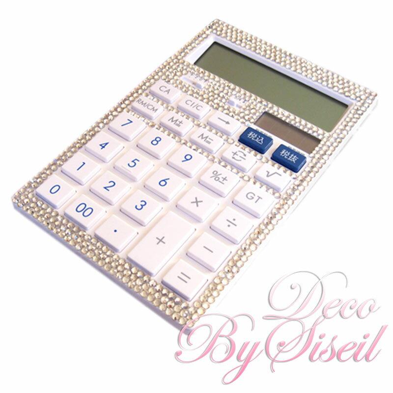 デコ 電卓 キャノン オーダーメイド 抗菌キレイ素材 12桁 太陽電池+リチウム電池 状態表示 早打ち、税計算おしゃれ かわいい キラキラ 高品質ガラスラインストーン