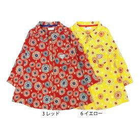 【SiShuNon/Kiccoly】花プリントシャツワンピース 花 フラワー 柄 シャツ ワンピース スカート 長袖