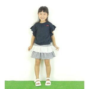【セール】【ネコポス対応】【SiShuNon/SKAPE】二段フリルスカート女の子ギンガムチェックレースフレアフリル