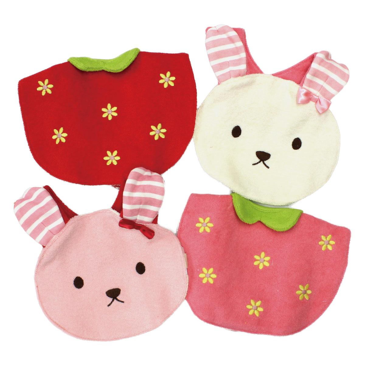 【ネコポス対応】【SiShuNon/エスケープ】ウサギイチゴスタイセット ベビー 女の子 2枚セット スタイ ギフト 出産祝い ヒブ パイル アニマル フルーツ ピンク 花