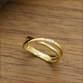 指輪 リング ゴールド クロスリング 0.02ct ダイヤモンド ダイヤ | レディース アクセサリー ジュエリー K18 K10 18金 10金 贈り物 プレゼント おしゃれ 可愛い 重ね付け