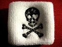 キラキラ骸骨リストバンド「白黒」【ネコポスOK】【髑髏】【ドクロ】【punk】【rock】【ゴシック】