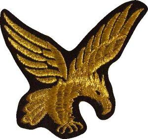 イーグルワッペン「金糸」【ネコポスOK】【アイロン接着】【和柄】【刺繍】【鳥】