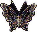 レインボー蝶々ワッペン「ブラック」【ネコポスOK】【アイロン接着】【black】【バタフライ】
