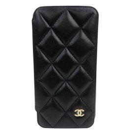 6ba1eace6c シャネル ラムスキン マトラッセ iphoneX クラシックケース アイフォン10ケース A83568 ブラック ゴールド金具 未使用品