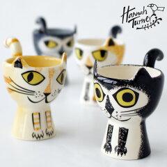 HannahTurner(ハンナターナー)EggcupsCatエッグカップ猫モチーフ(エッグスタンドゆで卵スタンド型たまごたて猫ねこネコキャットモチーフ陶器せっ器小物入れ)