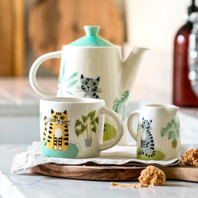 HannahTurner(ハンナターナー)CatMugマグカップ300ml(マグカップコップ電子レンジ可食洗器可猫ねこネコキャットモチーフ陶器せっ器)