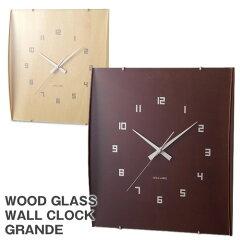 IdeaLabel(イデアレーベル)ウッドガラスクロックグランデ(壁掛け時計四角)