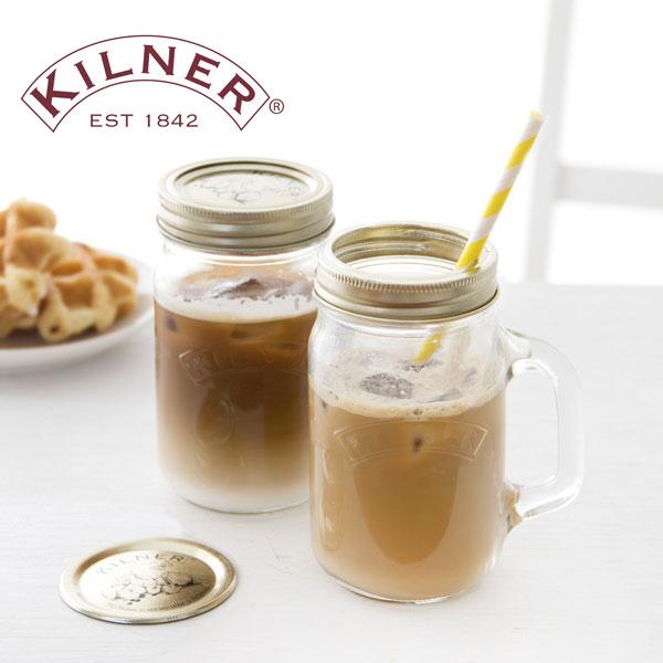 KILNER(キルナー)HANDLED JAR 0.4Litre with DOUBLE CAP(ハンドルジャー ダブルキャップ)(ハンドルジャー ジャー グラス コーヒー メイソンジャー スクリュートップ プレザーブジャー タンブラー)