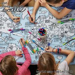 eatsleepdoodle(イートスリープドゥードゥル)worldmaptablecloth(お絵描きできるテーブルクロス)(キッズお絵描きらくがきペンカラフル知育ぬり絵地図マップ世界地図お出かけテーブルクロスプレイスマットプレゼントギフト)