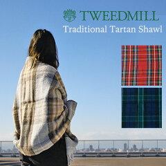 TWEEDMILL(ツイードミル)TraditionalTartanShawl(ショールストールマフラーブランケットスカーフ膝掛けブランケットウール100%タータンチェック英国イギリススコットランド上品ユニセックスクリスマスプレゼントギフト)