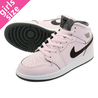 6262d6bb86d NIKE AIR JORDAN 1 MID GS Nike Air Jordan 1 mid GS PINK FOAM BLACK WHITE  555