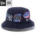 NEW ERA BUCKET01 NY MLB LOGO ALL OVER ニューエラ バケット01 ニューヨーク・ヤンキース MLB ロゴ オールオーバー NAVY 12540506