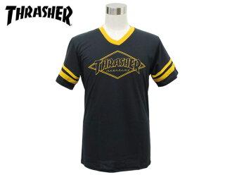 THRASHER OG DIAMOND RINGER T-SHIRT BLACK/YELLOW