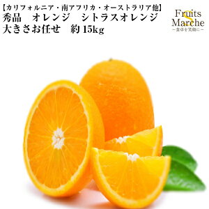 【送料無料】【カリフォルニア・南アフリカ・オーストラリア他】秀品 オレンジ シトラスオレンジ 大きさお任せ 約15kg(北海道沖縄別途送料加算)樹上完熟/蜜柑/果物/フルーツ/デザート