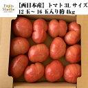 【送料無料】【西日本産】トマト 3Lサイズ 12玉〜16玉入り 約4kg(北海道沖縄別途送料加算)/母の日/野菜宅配/絶品/とまと/スムージー…