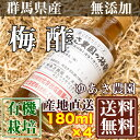 有機JAS梅酢「ヒマラヤ岩塩」使用 180ml×4本 (群馬県 ゆあさ農園)有機栽培 梅 無添加 送料無料 産地直送