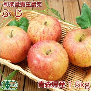 有機りんご ふじ 約1.5kg 有機JAS無農薬 (青森県 和楽堂養生農苑)家庭用