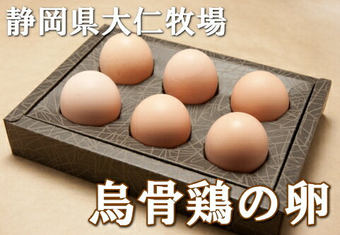 烏骨鶏の卵 1パック(6個)(静岡県 大仁牧場)健康有精卵・送料無料・産地直送