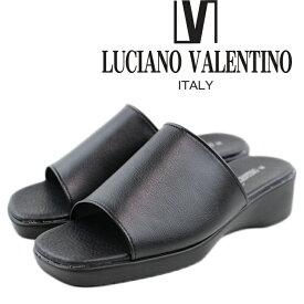 あす楽 送料無料 LUCIANO VALENTINO ルチアーノ バレンチノ サンダル レディース 6090 日本製 オフィスサンダル 黒 仕事 室内 会社 女性 婦人 4.5cmウエッジヒール