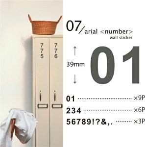 ウォールステッカー「07 アリアル<ナンバー>」【スキュウグレー】【小物商品3点以上で送料無料】